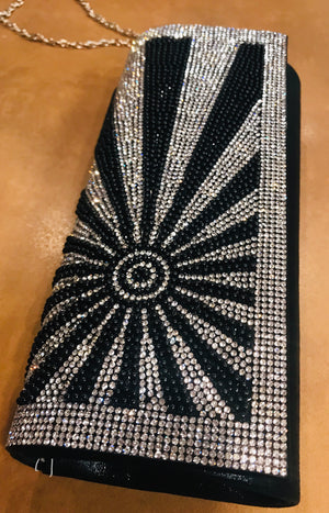Bling clutch black with sunburst 2036