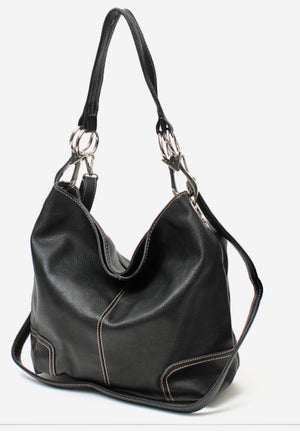 Black bucket bag with metal ring side