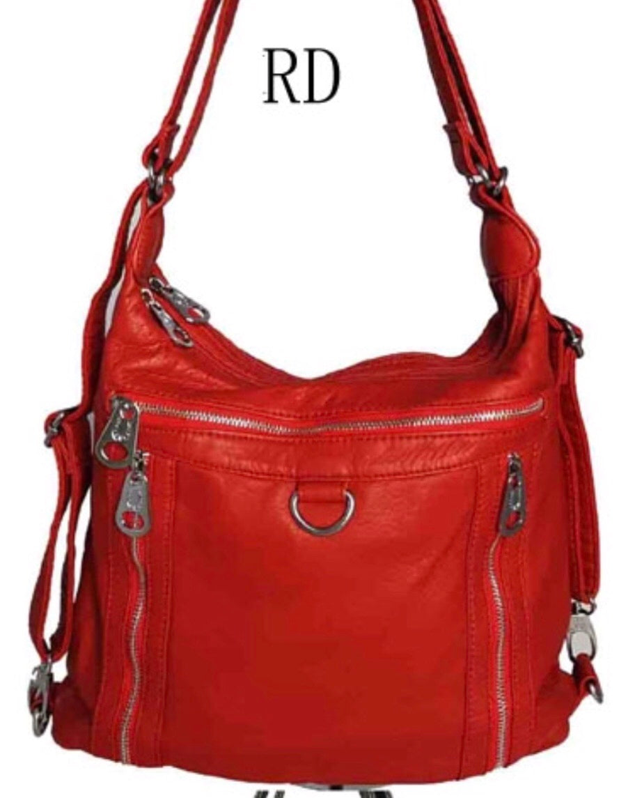 Red 3 in 1 with metal loop backpack purse