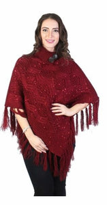 Burgundy shawl collar bling poncho