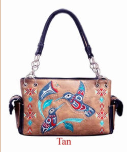 Tan hummingbird purse