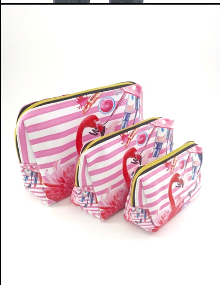 Flamingo cosmetic bags (3pc)