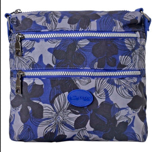 Zippered nylon messenger Dion with flowers
