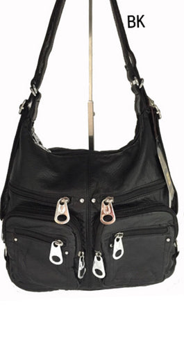 Black 6 zipper front 3 in 1 backpack purse