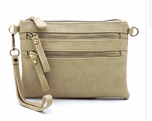 Beige small 2 zipper front messenger