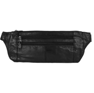 Black leather waist pouch (fanny pack) HJ-917