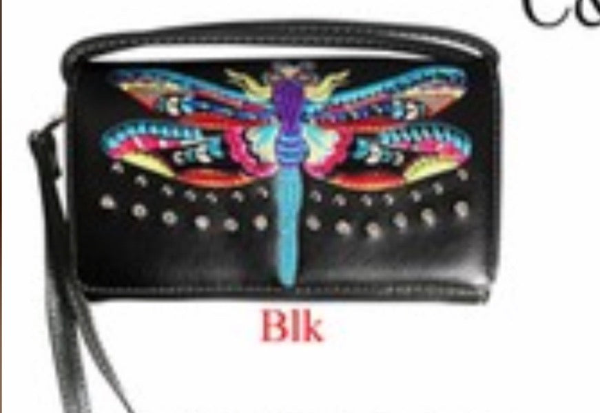 Black dragonfly wallet with crossbody strap