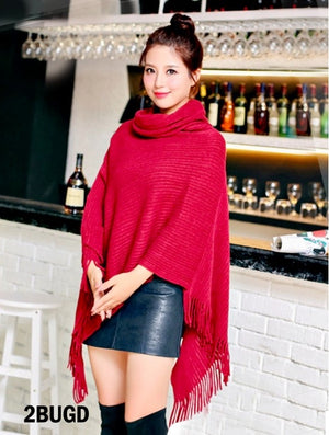 Red loose turtleneck poncho