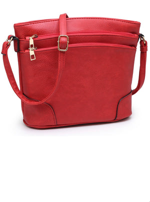 Red FW messenger multi zip pocket