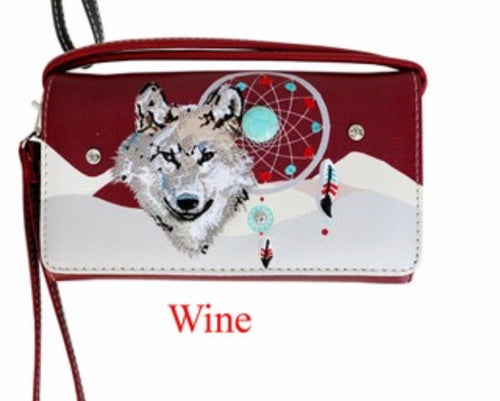 Wine/red wolf dreamcatcher wallet with crossbody strap