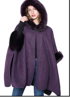 Purple hooded faux fur cape with armholes
