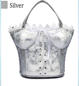Silver corset evening purse with long strap