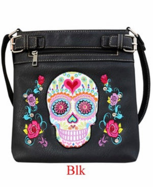 Black sugar skull messenger with heart