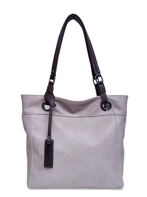 Lilac large pass tote with brown tag