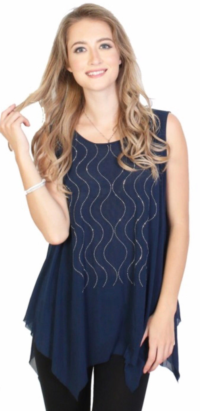 Navy Sparkle Top With Squiggle Design