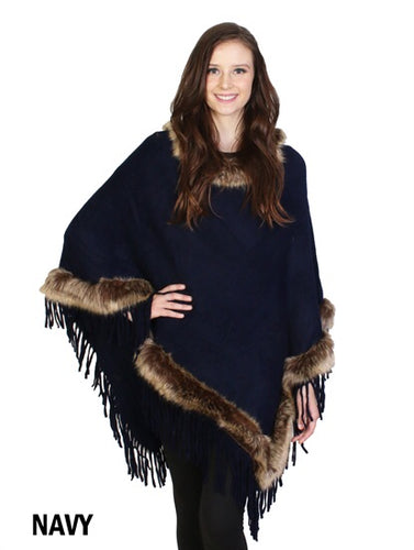 Navy poncho with brown faux fur trim