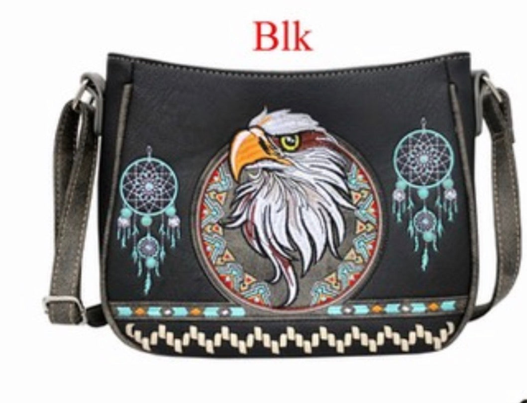 Black eagle crossbody purse