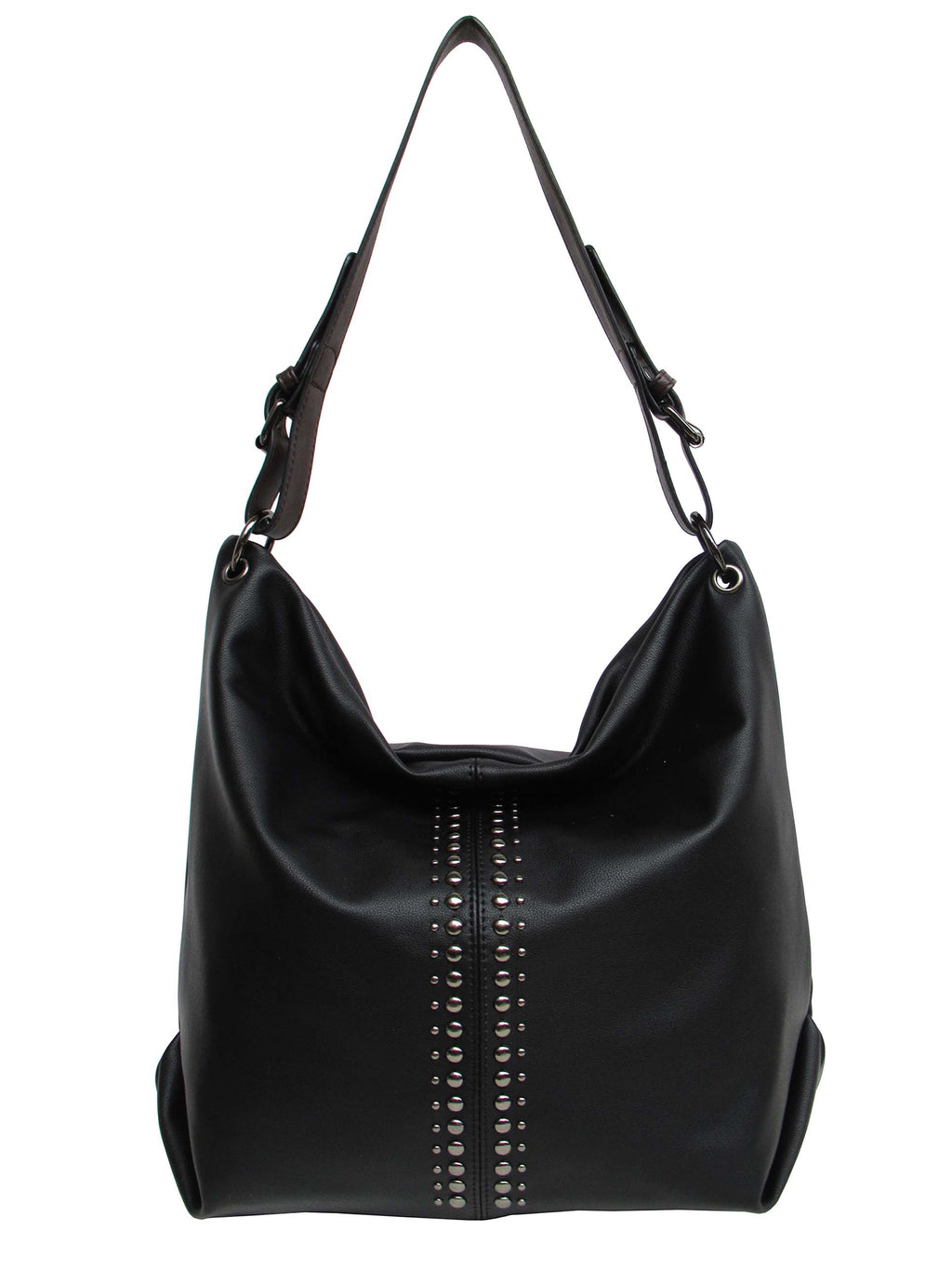 Black pass handbag with stud detail in centre