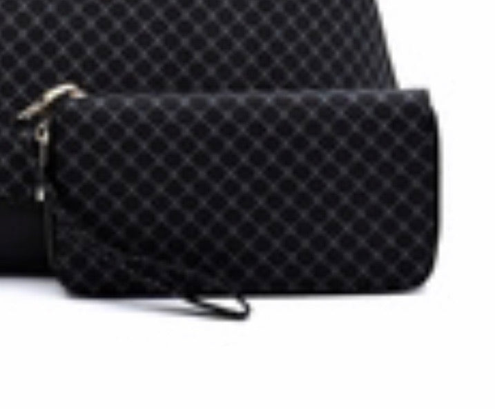 Black checker wristlet wallet
