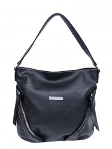 Black pass handbag with diagonal zippers