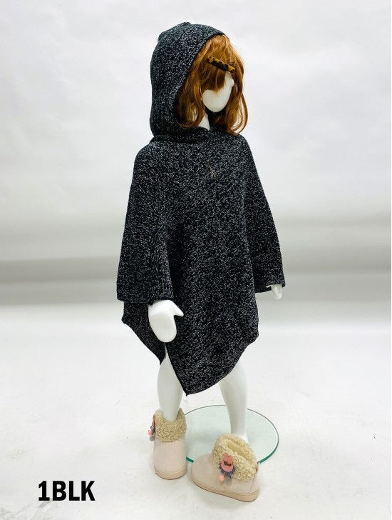Girls black poncho with hood