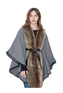 Grey cape with faux fur and belt
