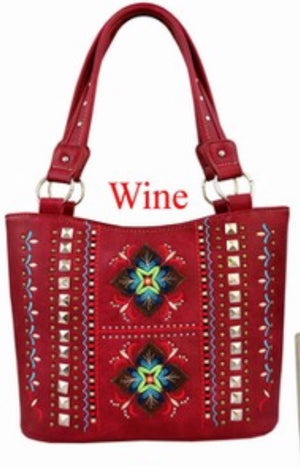 Red indigenous flower purse