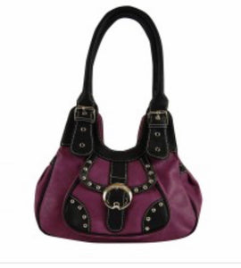 Small purple handbag with black trim
