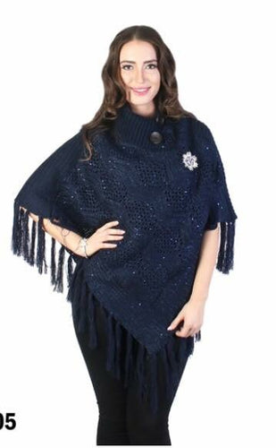 Navy shawl collar bling poncho