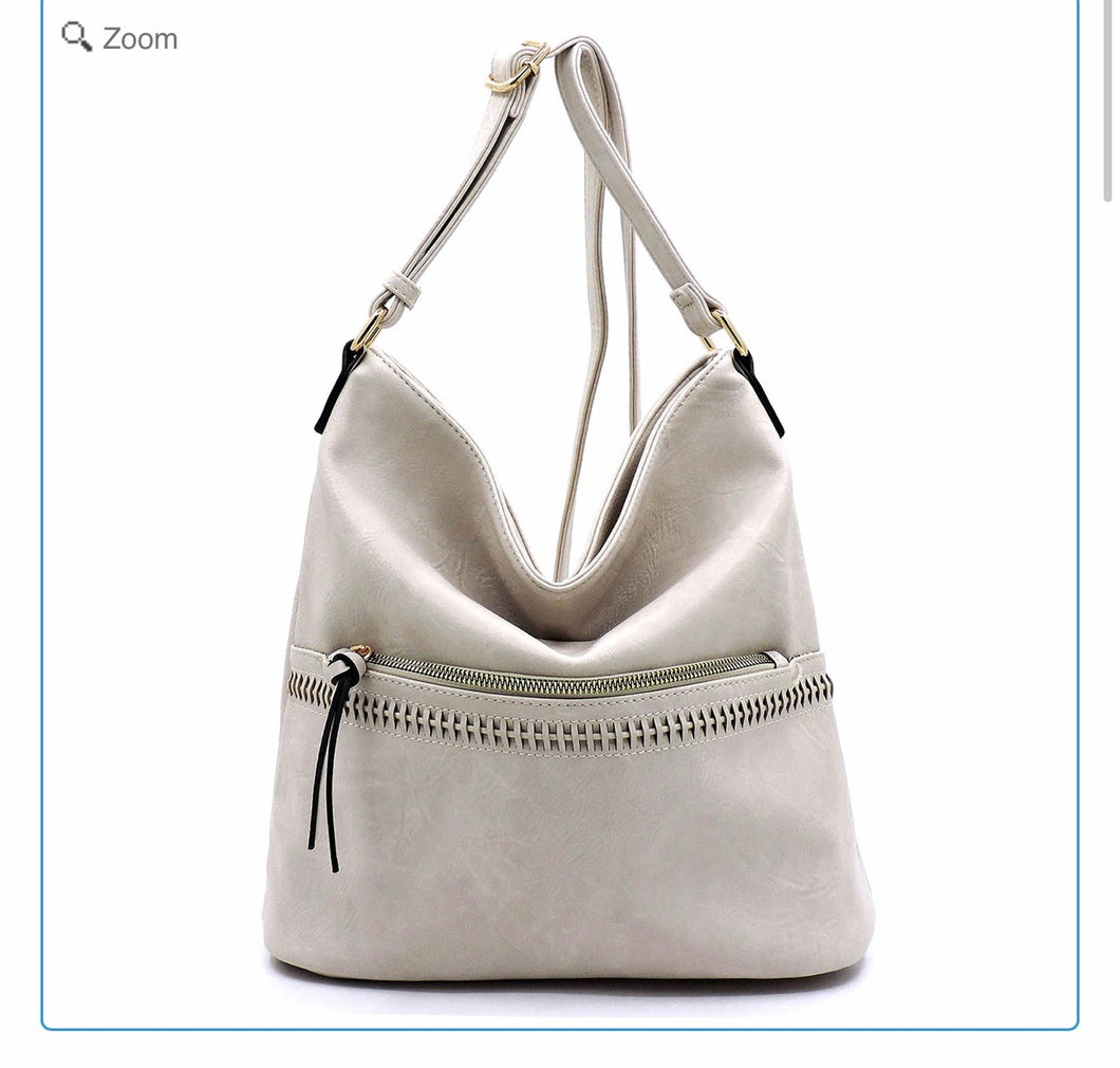 Large cream hobo messenger with front zipper