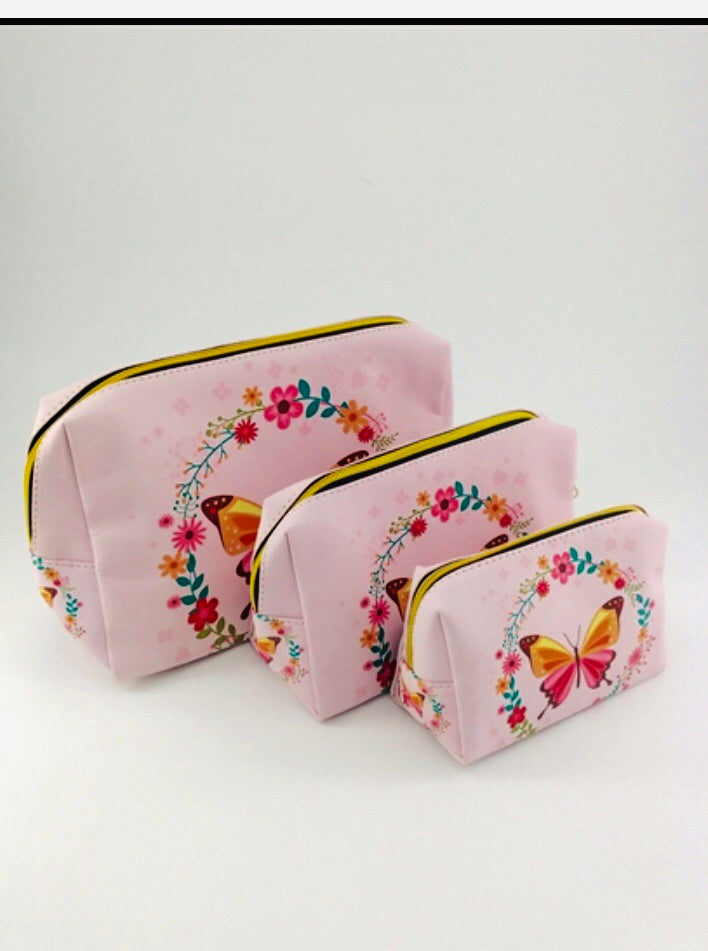 Butterfly cosmetic cases (3pc)