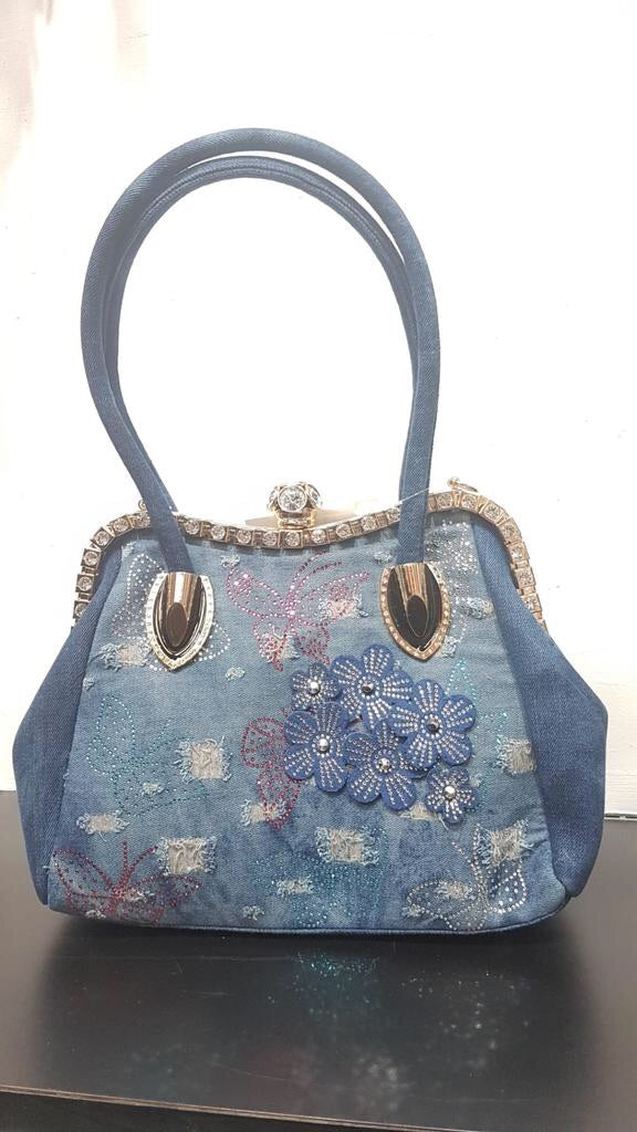 Dark Blue Denim Butterfly with Jewel closure