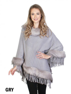Grey poncho with grey faux fur trim/tassels
