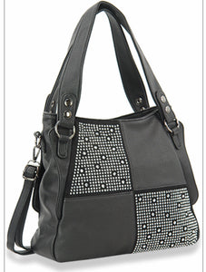 Black colour block bling handbag