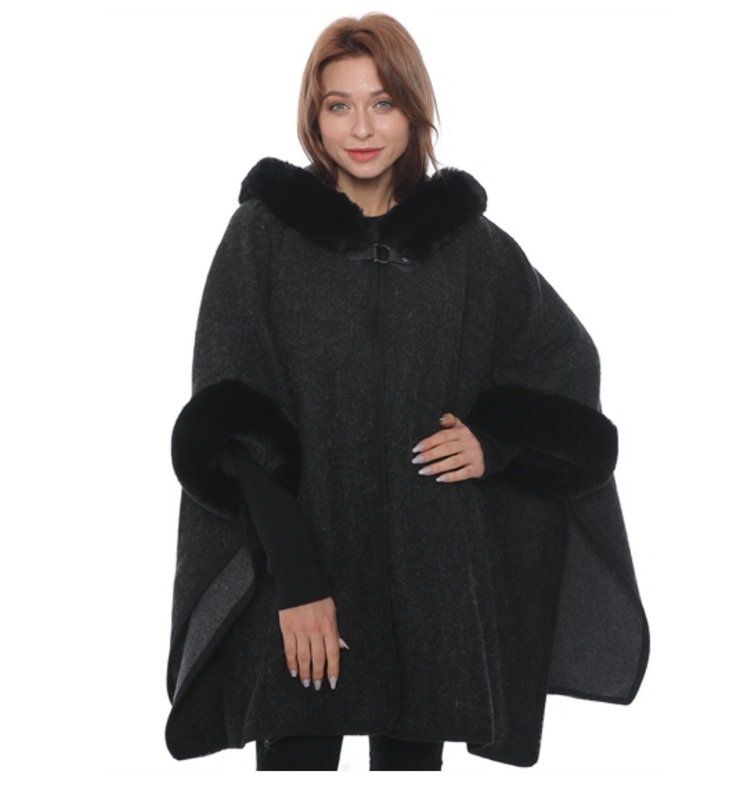 Black hooded faux fur cape with armholes