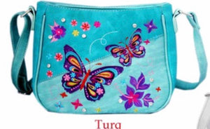 Turquoise butterfly messenger purse