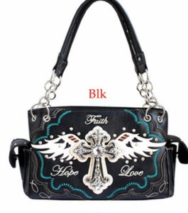 Black Faith hope love purse with cross and wings