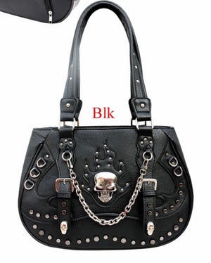 Skull handbag with chain and buckles