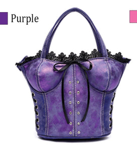 Purple corset evening purse with long strap