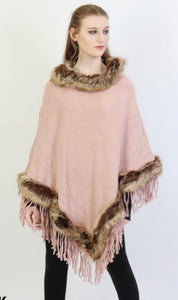Pink Poncho with Brown Faux Fur Trim