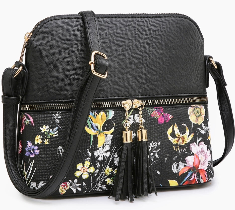 Black structured messenger with flower print bottom