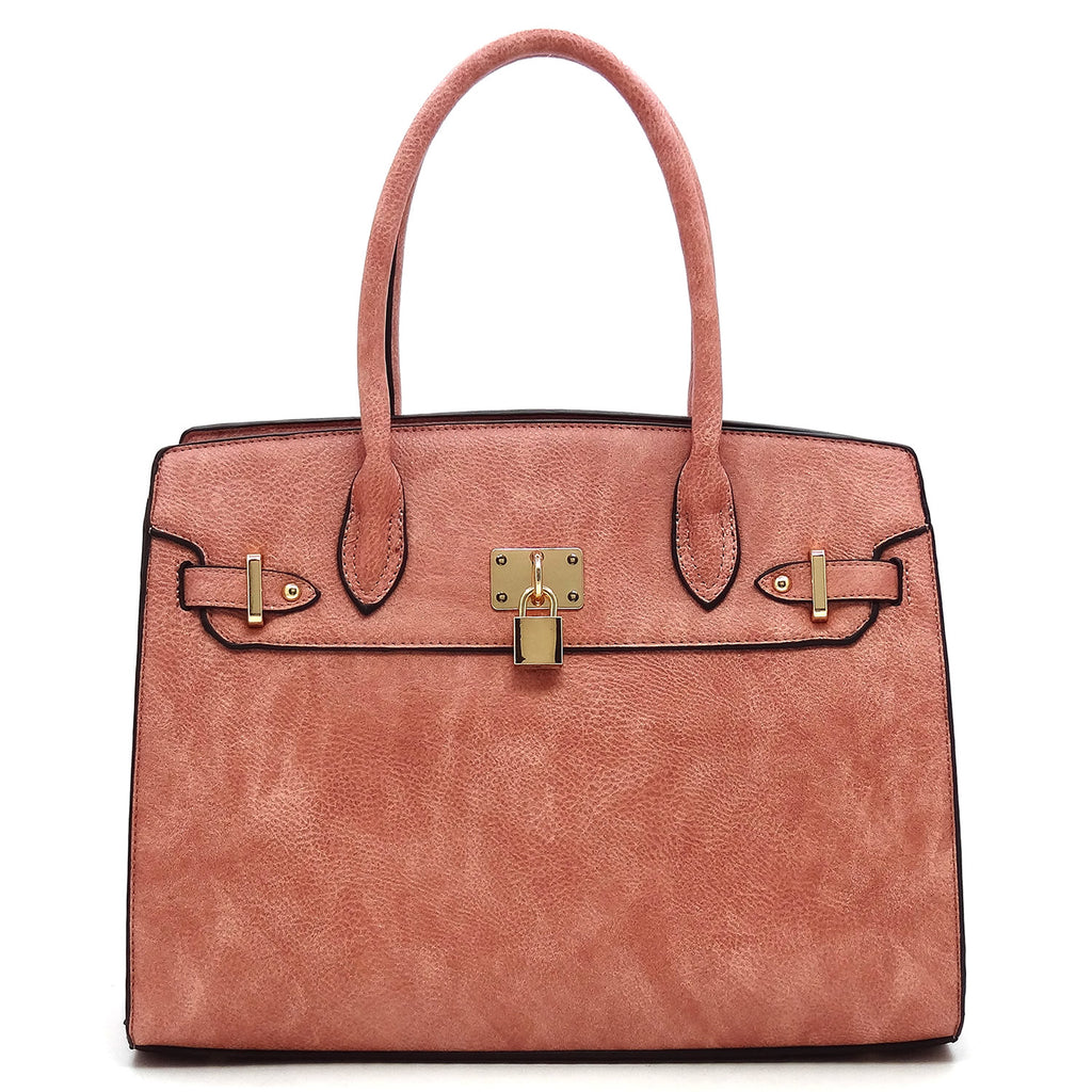Larger FW pink tote and wristlet with gold lock