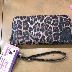 Brown leopard wallet