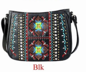 Black indigenous flower crossbody purse