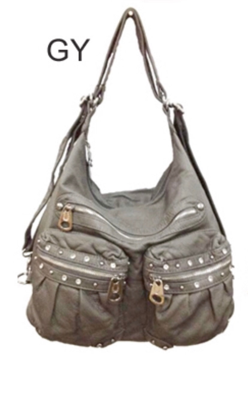 Grey Large Bling 3 in 1 Backpack Purse