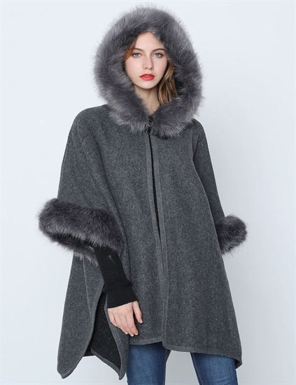 Grey hooded faux fur cape with armholes