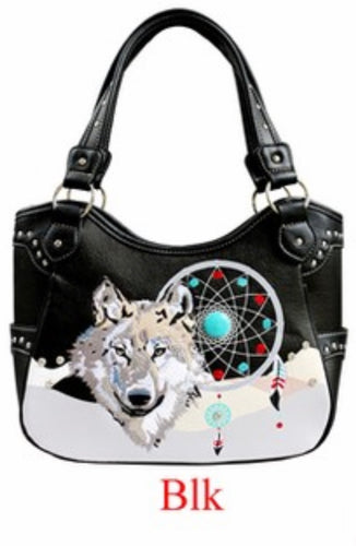 Black wolf with dreamcatcher purse