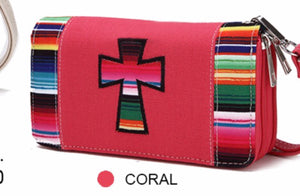 Pink cross cloth wallet with Navajo