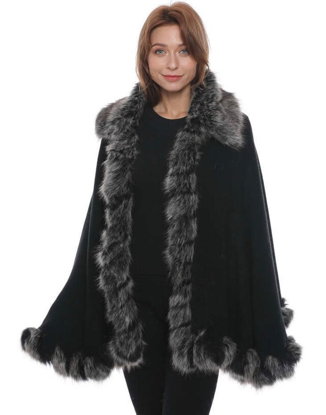 Black cape with grey collar and trim