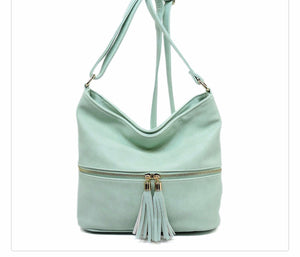 Mint messenger with tassel zipper